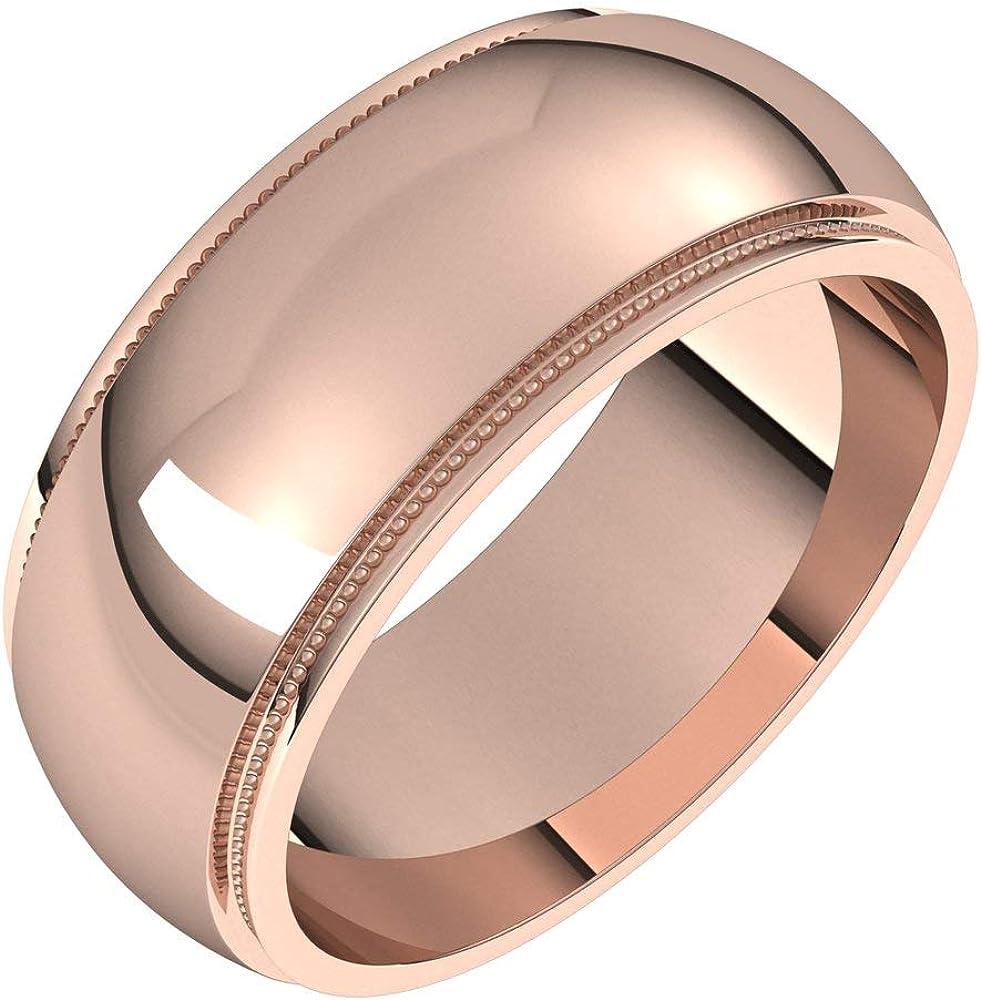 Solid 10k Rose Gold 8mm Milgrain Ring Wedding sale Edge Topics on TV Band Hea Mens