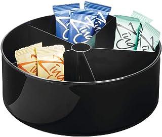 despensa o nevera transparente mDesign Juego de 2 bandejas giratorias para encimera Plato rotatorio con 5 divisiones en pl/ástico Organizador de cocina giratorio para alimentos o medicamentos
