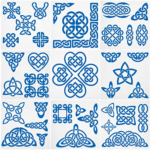 9 Pieces Celtic Knot Stencil Celtic Line Quilting Stencil Kit Sewing Stencils Viking Symbols Reusable Template Hearts Stencils for Sewing on Fabric Quilt Clothes