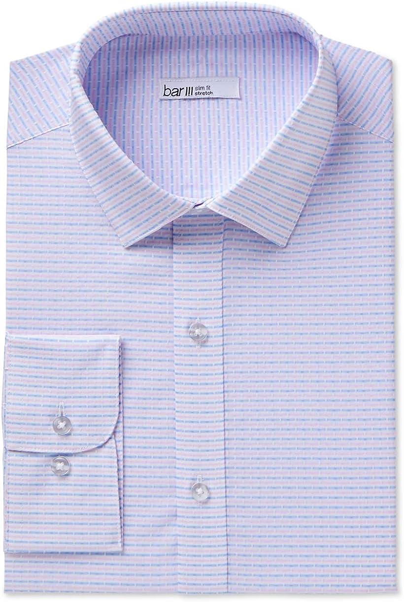 Bar III Mens Dress Shirt Blue Striped Slim Stretch Pink 16-16 1/2