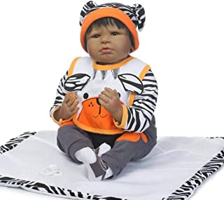 TERABITHIA 22 inch Black Gentle Touch Silicone Vinyl Reborn Doll Alive Tiger Collectible African-American Newborn Baby Dolls