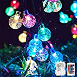 Metaku RGB Globe String Lights Fairy Lights Battery Operated 26ft 60LED String Lights with Remote 16 Colour Changing Garden Lights Waterproof Indoor Outdoor Decorative Lights for Garden Patio Home