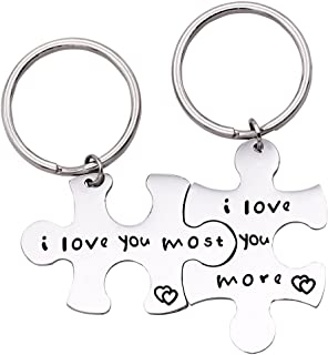 Melix Home I Love You More I Love You Most Couples Keychains/Couples Necklaces Set, Perfect Gift for Your Boyfriend