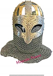 KAMAUN Viking Helmet Vendel SCA LARP Helmet 14 Gauge Steel and Brass Helmet.