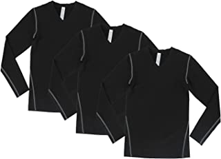Junyue 3-Pack Youth Long Sleeve Football Shirts Boys Quick Dry Compression Base Layer for Workout Training