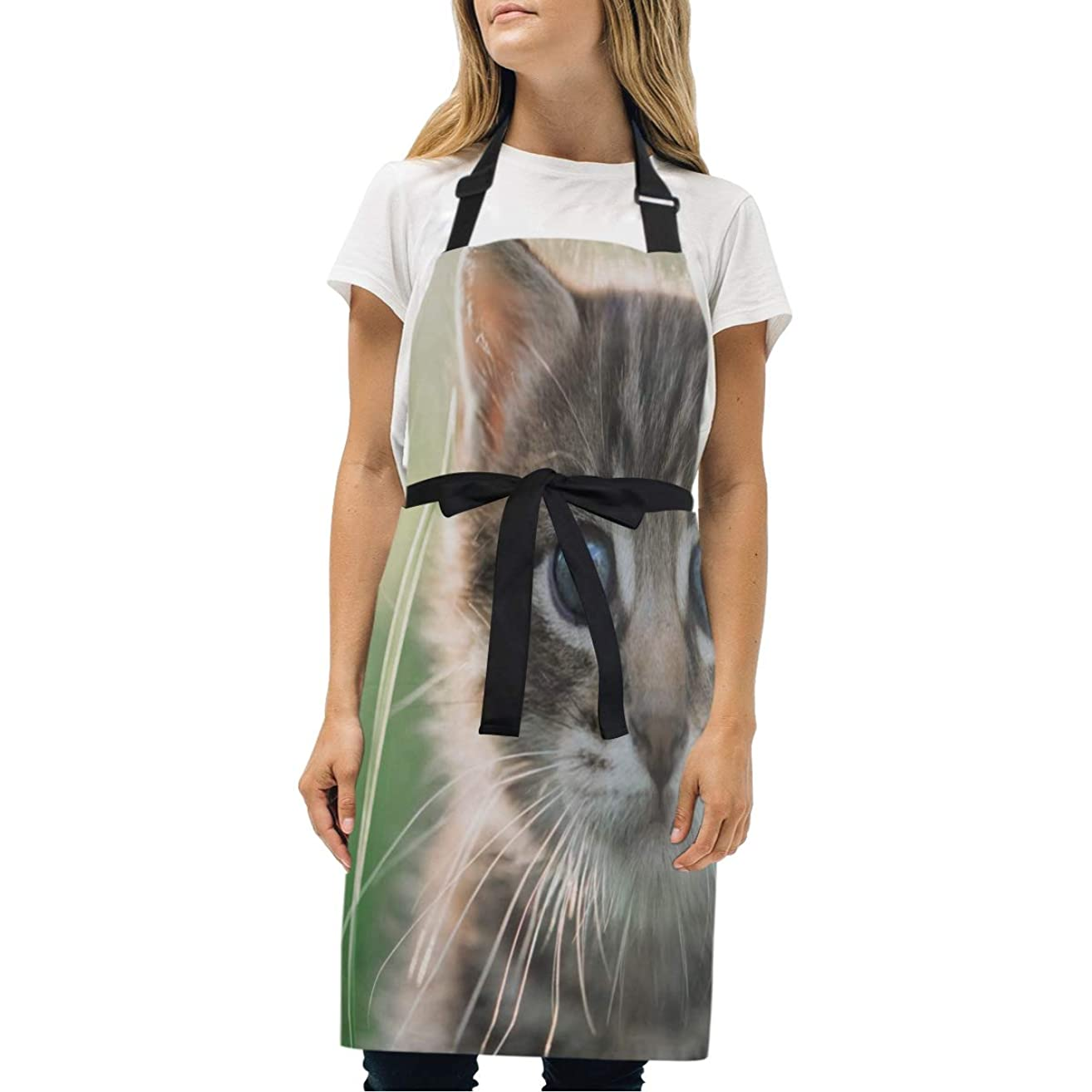 HJudge Womens Aprons Signs to Look Out for Kitten Kitchen Bib Aprons with Pockets Adjustable Buckle on Neck