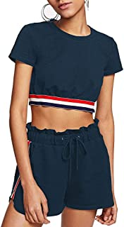 Womens Sexy Velvet 2 Pieces Romper Outfit - Spaghetti Strap Crop Top Camisole and Shorts Pajama Active Bottom Set