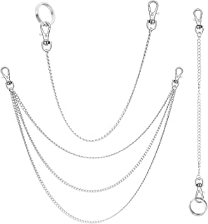 Anezus 3pcs Belt Chain, Pocket Chain, Chains for Wallet, Pants, Jeans, Goth Accessories for Eboy, Egirl, Men and Women