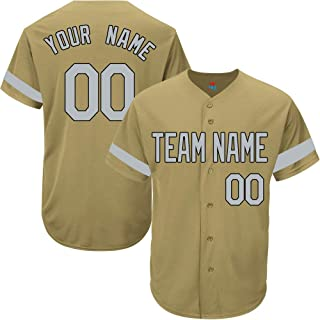 Gold Custom Baseball Jersey for Men Women Youth Game Embroidered Team Player Name & Numbers S-5XL Gray Black Striped