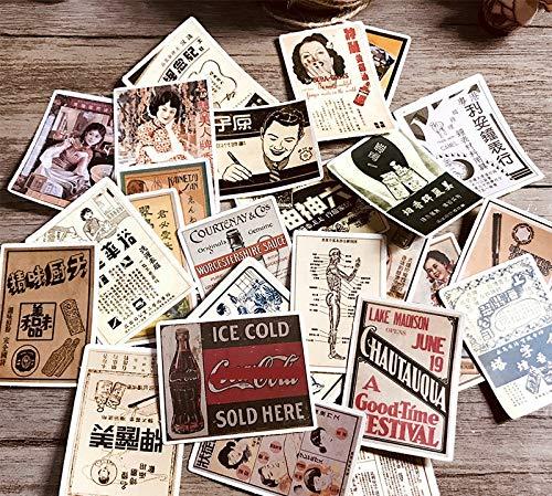 PMSMT 25 PiezasVintage Pegatinas de póster Antiguo Manualidades y Pegatinas deálbum deRecortes Juguetes para niños Libro Pegatina Decorativa papelería DIY