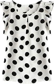 Domple Women's Short Sleeve Chiffon Ruffle Polka Dot Print Summer Shirt Blouse Top