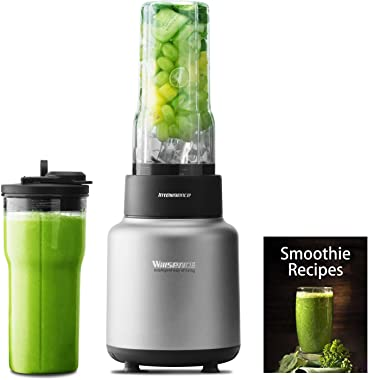 Willsence Blender 30000 RPM/Min 1500W High Speed, NUTRI-IQ Intelligent Identification of Food Hardness System, 6 Different Edges Stainless Steel Blade, BPA-Free 2 x 24 OZ Tritan Travel Cups, Recipe Book included