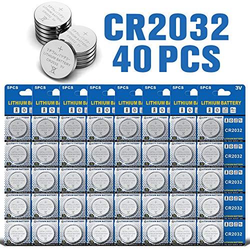 LAPROBING Batterien CR2032 Lithium Knopfzellen / Knopfbatterien (3V, 40-er Pack)