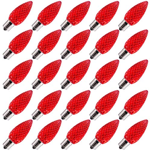 Brightown 25 Pack C9 LED Bulb, C9 Replacement Bulb for Christmas String Light, E17 Intermediate Base, Commercial Grade Dimmable Bulbs, 5 Diode (LEDs) in Each Strawberry Bulbs, Red