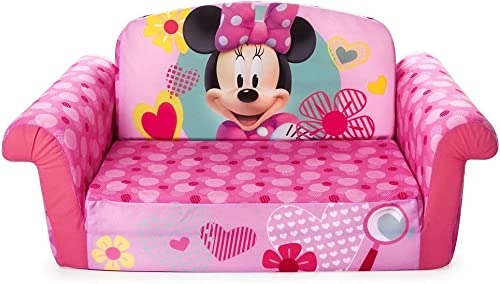 Marshmallow Furniture, Children's 2 in 1 Flip Open Foam Sofa, Minnie Mouse, by Spin Master, Multicolor