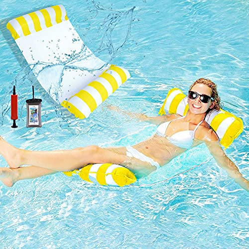 WELLXUNK Aufblasbare Wasser-Hängematte, Luftmatratze Pool, 4-in-1 Lounge Sessel Pool Lounge, Hängematte Pool, Aufblasbare Hängematte, für Erwachsene, Kinder, Party, Schwimmbad, Strand