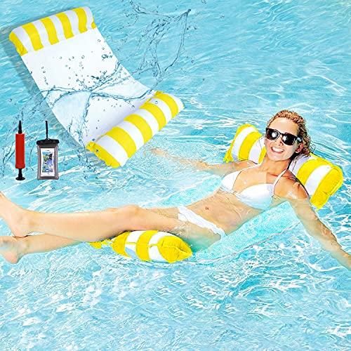 WELLXUNK Amaca Galleggiante,Amaca Gonfiabile Piscina,Amaca Mare,Amaca Galleggiante Mare,Amaca d'Acqua, Lettino Galleggiante per Giochi Estivi Piscina e Beach Party per Adulti e Bambin