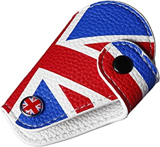 Miniclue Red Blue Union Jack UK Flag Style Real Leather Remote Key Fob Bag Cover Case Holder 2008-up Mini Cooper R55 R56 R57 R58 R59 R60 R61 F54 F56