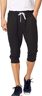 Men's 3/4 Workout Joggers Capri Pants Running Training Side Pockets