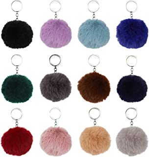 12 Pcs Pom Pom Keychain, Fluffy Fur Ball Keyring Pompoms Keychain for Car Key Handbag Tote Bag