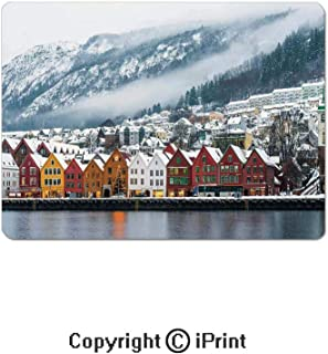 Thick 3mm Gaming Mouse Pad Winter View of Bruges Norway Northern Mountain Landscape European Print Urban Deco Personality Design Non Slip Rubber Mouse Mat,7.1x8.7 inch,Multi