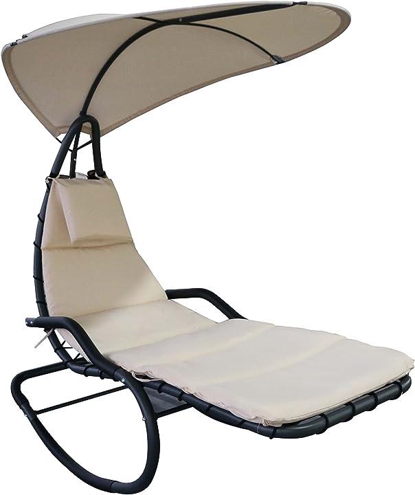 Poltrona a dondolo da giardino ergonomica, lettino sdraio imbottito e poggiatesta, 165x125x184cm outsunny IT84A-0890631