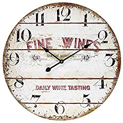 BEW Wooden Wall Clock, Large Rustic Vintage Fine-Wines Distressed Shiplap Decorative Wall Clock, Silent Farmhouse Hanging Clock for Living Room, Bedroom, Apartment, School, Hotel - 24 Inch