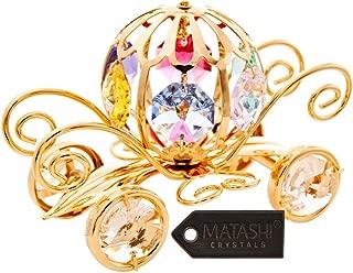 24K Gold Plated Crystal Studded Pumpkin Coach Ornament by Matashi