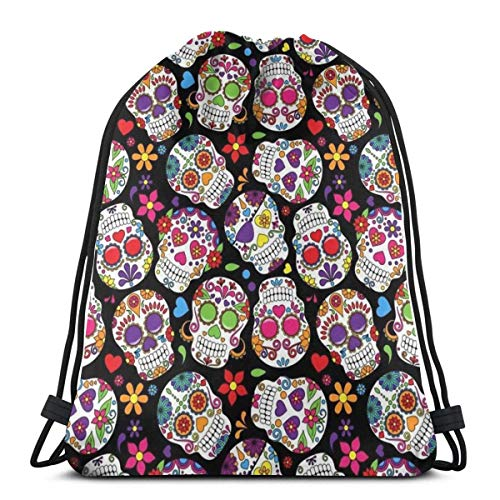 Drawstring Backpack Bags Sugar Flowers Skull Lightweight School String Storage Sackpack