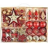 Valery Madelyn 北欧風 クリスマス ボール オーナメント 豪華 70個 セット 北欧風 ボールクリスマス ツリー 飾り 飾り付け おしゃれ ゴージャス レッド ゴールド