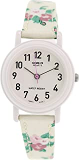 Casio Women's Leather/Fabric White Floral Analog Watch LQ-139LB-7B2