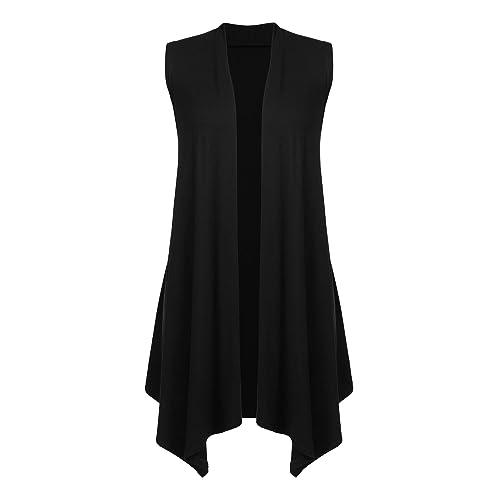 681a913953545 Beyove Women s Sleeveless Cardigan Draped Open Front Vest Asymmetric Hem  S-XXL