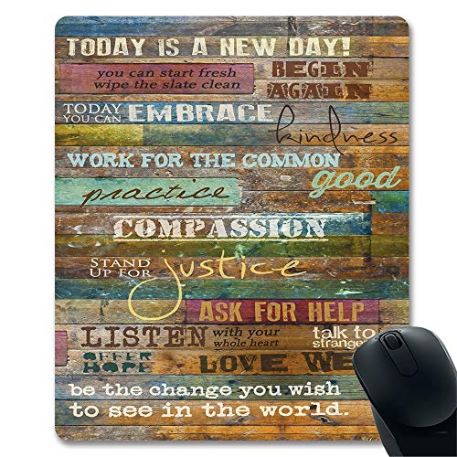 Today is a New Day Inspirational Quotes Vintage Wood Wall Art Unique Design Gaming Mouse Pad