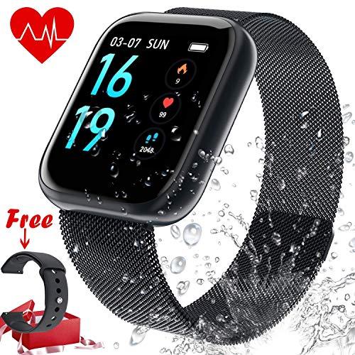 Fitness Tracker Cardiofrequenzimetro, Tracker attività impermeabile IP68 Smart Watch e contapassi Tracker del sonno con 2 cinturini intercambiabili per uomo e donna(B-8)