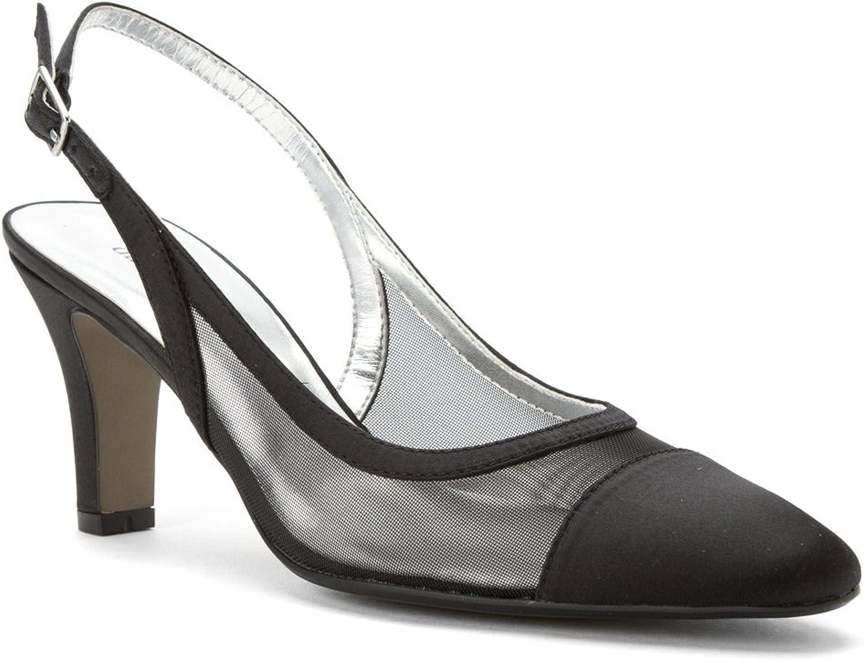 David Tate Women's Vegas Navy Satin Mesh heels 8 X WIDE