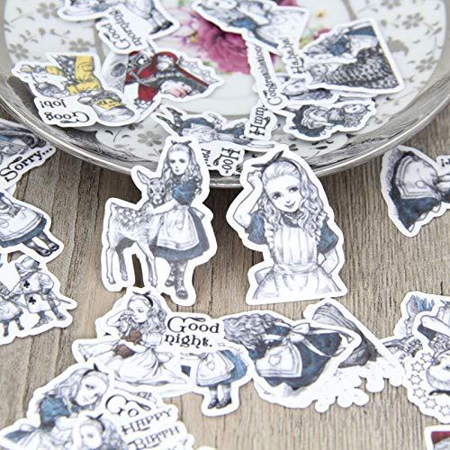 WOCAO 40 pegatinas decorativas en el país de las maravillas para álbumes de fotos y álbumes de fotos