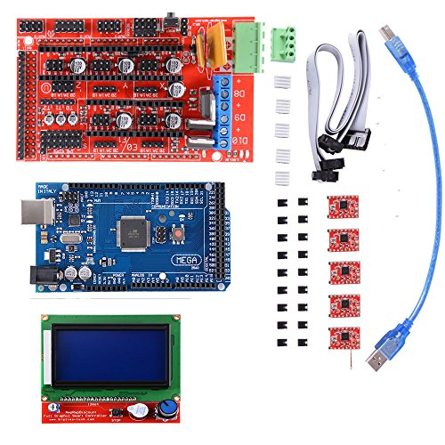 3D Printer Kit with Mega 2560 Board + RAMPS 1.4 Controller + 5pcs A4988 Stepper Motor Driver with Heatsink + LCD 12864 Graphic Smart Display Controller with Adapter for 3D Printer