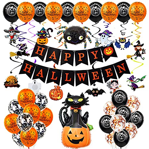 JOTOL Decoracion Halloween Casa,Juego de decoración de Halloween,Happy Halloween globos,Diseño de Calabaza,Gato Negro,para Miedo Halloween para Halloween Fiestas