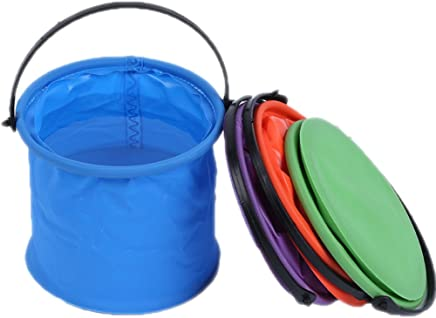 OSOPOLA Foldable Water Container Artist Pen Washing Bucket with Carrying Handle for Camping, Hiking, Traveling (Blue)