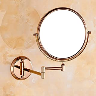 KTYXGKL Full Copper Rose Gold Double-Sided Makeup Mirror Bathroom 3 Times Magnifying Beauty Mirror 8 Inches Makeup Mirror