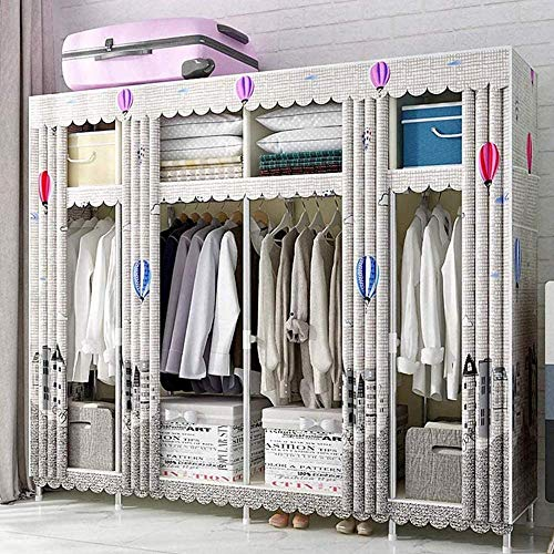 CXVBVNGHDF Fabric Wardrobes Portable Closet Wardrobe Organisers 25mm Thickened Steel Pipe with 4 Clothes Rails and 8 Shelves Used to Protect Clothes and Shoes,B