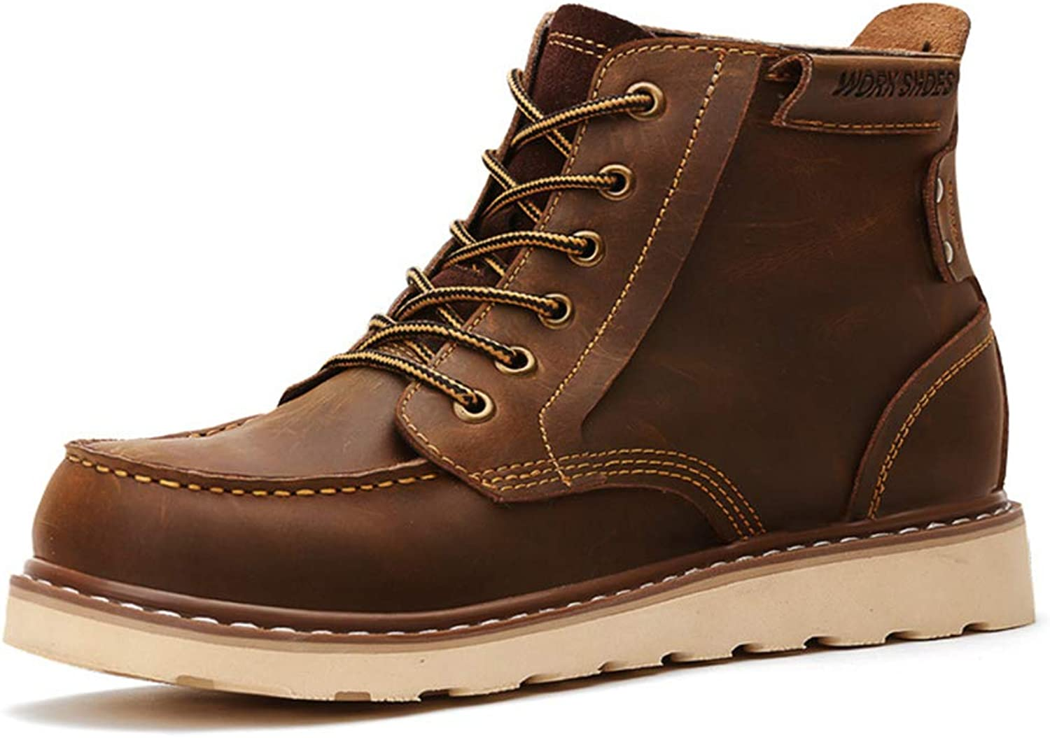Men's New Boots Fall Winter Leather Martin Boots Non Slip Lace-Up Hiking shoes Tooling Boots,C,40