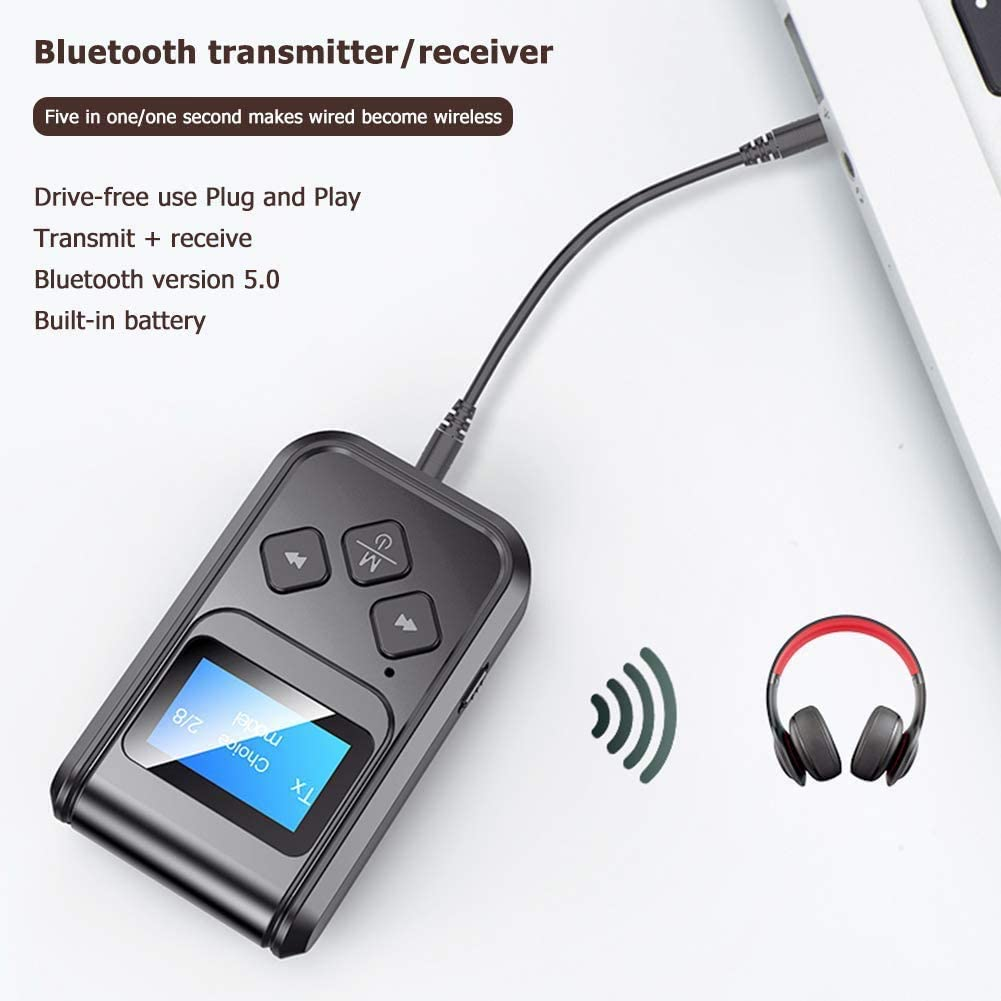 Eadidi Visible Bluetooth Transmitter and Receiver Stereo Audio Aux Bluetooth Dongle Transmitter for TV PC iPod Car 2-IN-1 Wireless Audio Transmitter Receiver with Display Screen