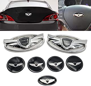 Cardiytools 7PCS Silver Chrome WING Logo Emblems Badges for 2010-2015 Genesis COUPE Color