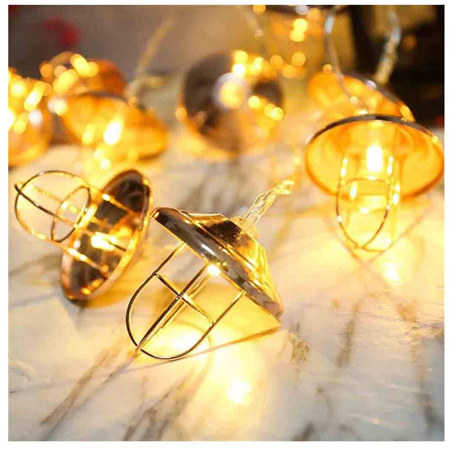 Window Curtain String Lights, String Light Geometric Classical Iron 10/20 LEDs Lamps String Light for Wedding Party Home Garden Bedroom Indoor Wall Decorations Commercial Decor (3m, Rose Gold)