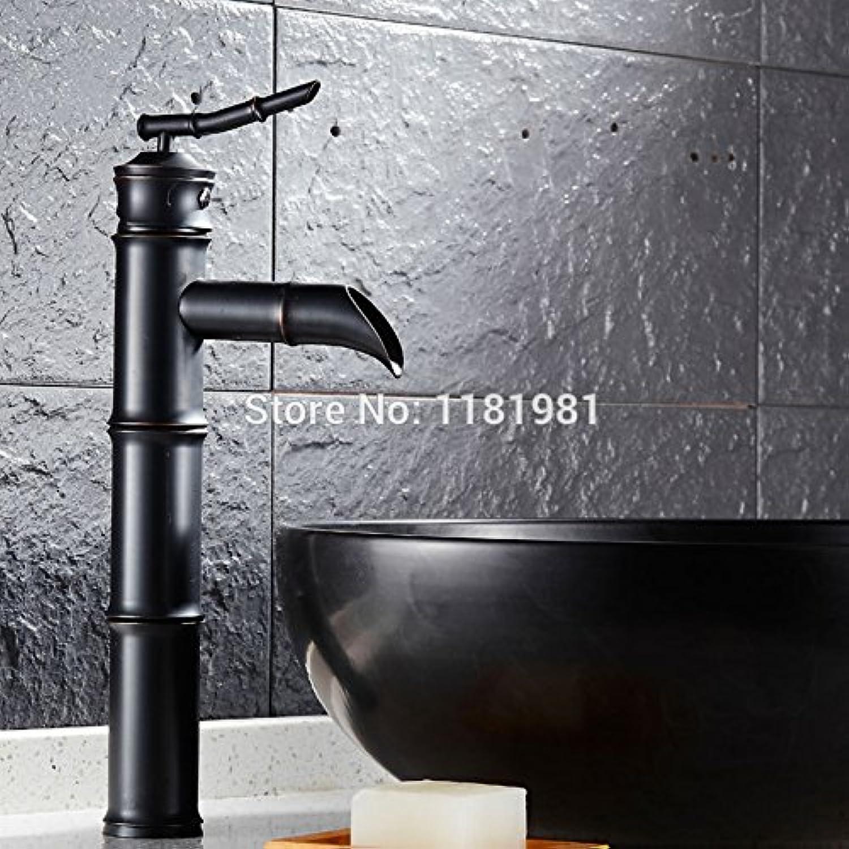 U-Enjoy Bamboo Shape Bathroom Top Quality Brass Retro Sink Mixer Taps Deck Mounted Single Holder Swivel Spout Black Faucet (Free Shipping)