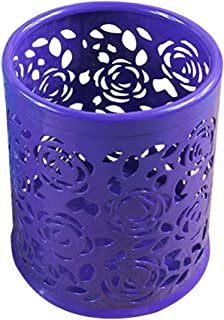 Saim Multi-Color Hollow Rose Flower Pattern Cylinder Pen Pencil Pot Holder Container Organizer (Purple)