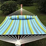 Super Deal Upgraded Quilted 2 Person Double Hammock 480lbs w/Detachable Pillow, Spreader Bar, Blue and Green Stripe