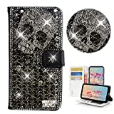 STENES Bling Wallet Phone Case Compatible with LG Stylo 6 - Stylish - 3D Handmade Punk Skull Glitter Magnetic Wallet Magnetic Wallet Stand Leather Cover Case - Black