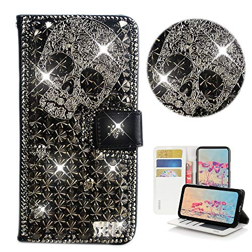 STENES Bling Wallet Phone Case Compatible with Samsung Galaxy S9 Plus - Stylish - 3D Handmade Punk Skull Glitter Design Flip Leather Cover Case - Black